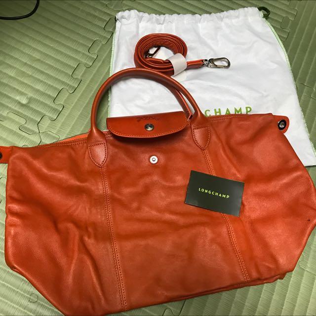 Longchamp  橘色皮質兩用包包