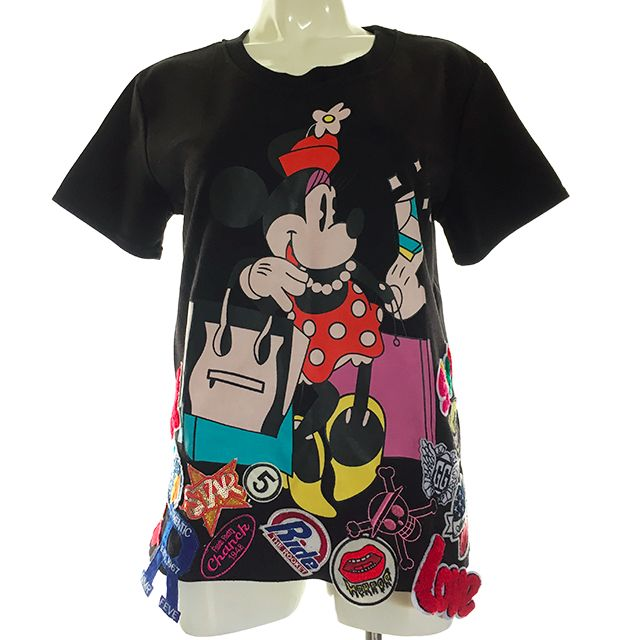 Minnie Print T-Shirt with Badges Decorations