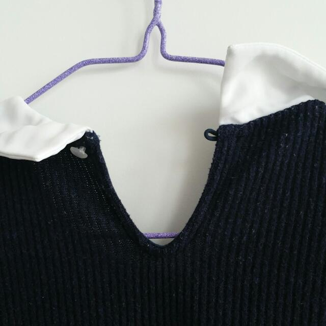 Navy White Collar Sweater