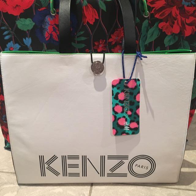 New H&M X Kenzo Large Leather Shopper Bag