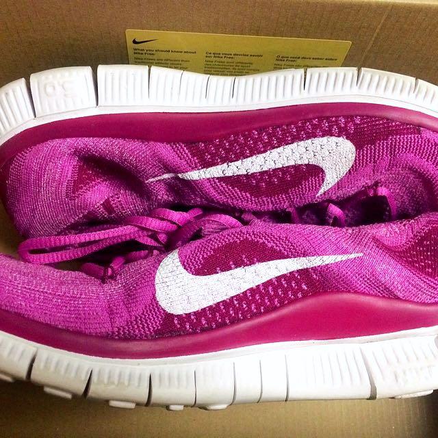 Nike Free Flyknit+ Running Shoes Magenta Size 9.5