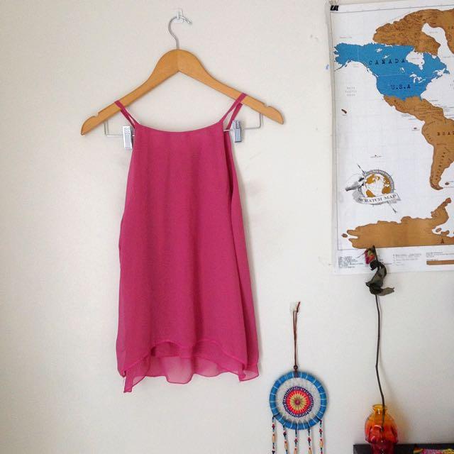 Pink Chiffon Sleeveless Top