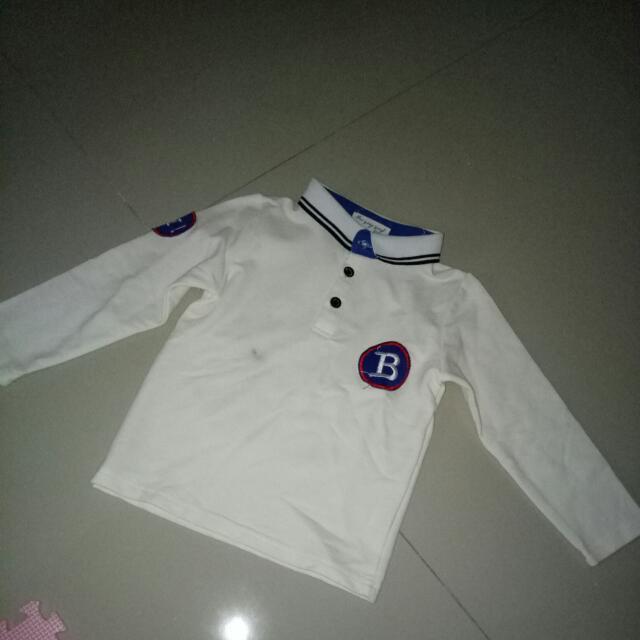 Long Sleeve Polo Shirt Snoopy Putih. Defect, Pas Baru Beli, Dicuci Kena Luntur Jeans. Untuk Bayi 9-12 Bln.