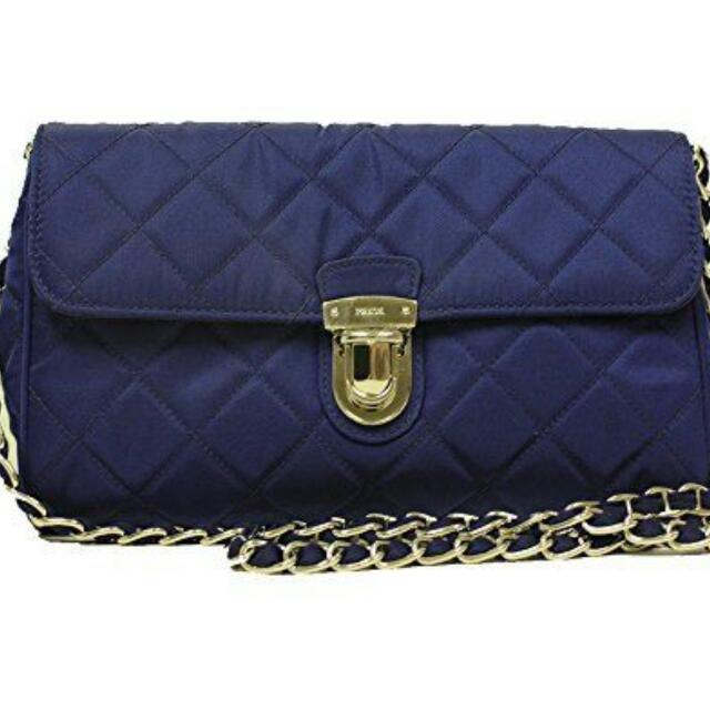 f1700ba6d61962 Prada Royal Blue Quilted Nylon Leather Chain Bag, Luxury, Bags ...