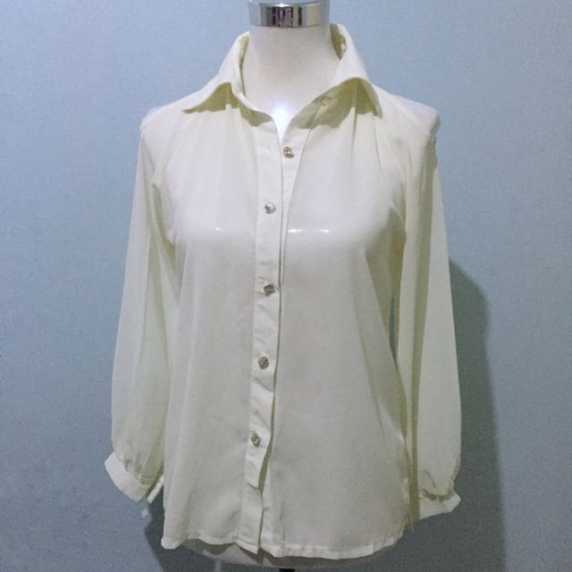 Sheer Blouse (with Cut On The Sleeves)