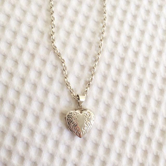 Silver Love Heart Locket Necklace