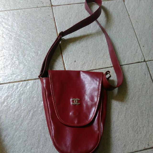 Sling bag Channel Maroon