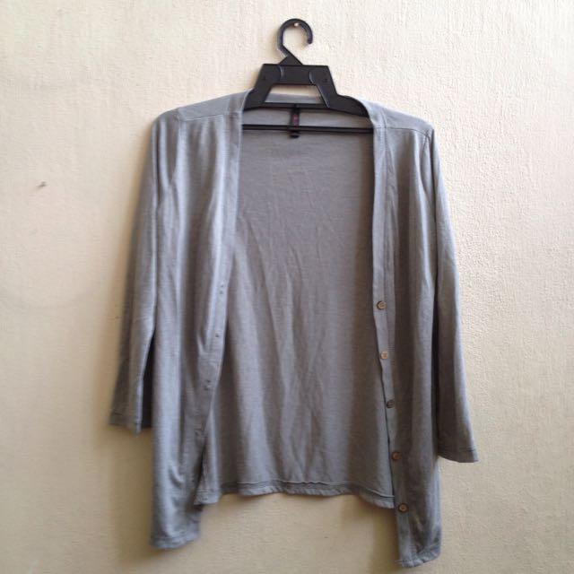 Soft Grey Casual Formal Slouchy Drape Oversized Long Sleeve Cardigan Parka Jacket Outerwear