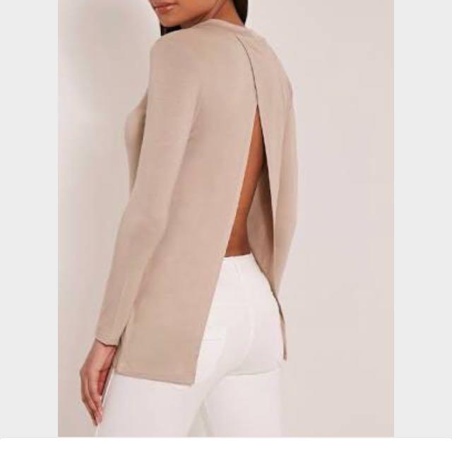 Split Back Long Sleeve Top