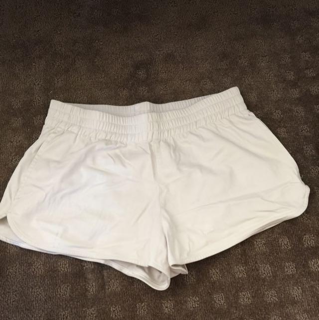Sports girl White Leather Shorts