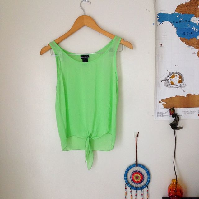Wet Seal Green Sleeveless With Knot