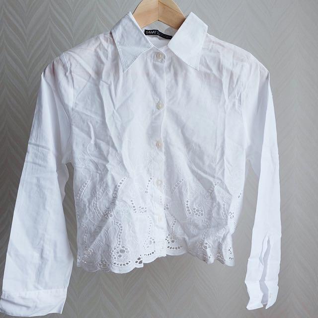White Crop Shirt 2