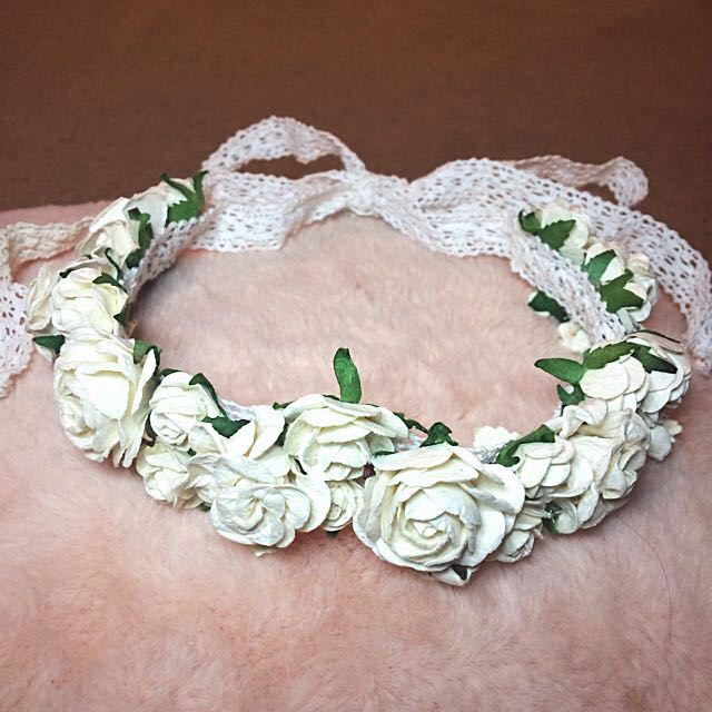 White Floral and Lace Flower Crown