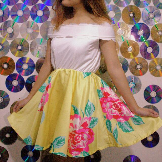 Yellow Floral Dress (off shoulder)