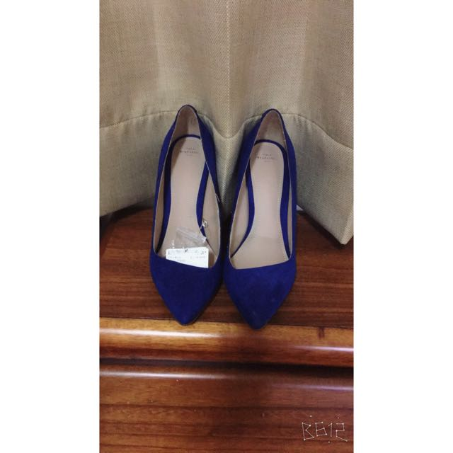 Zara寶藍色高跟鞋