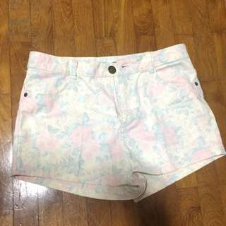Faded Floral High Waisted Shorts