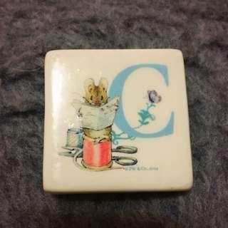 Peter Rabbit Ceramic Magnet, Initial C