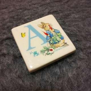 Peter Rabbit Ceramic Fridge Magnet, Initial A