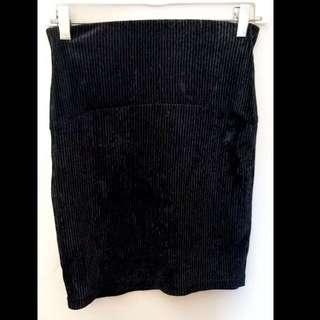 Black Velvet Corduroy Skirt