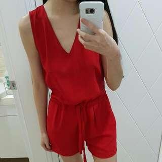 zara紅色後綁帶造型收腰腰鬆緊無袖連身褲xs號