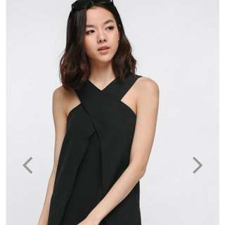 Love Bonito Freydis Cross Front Dress In BLACK (Size S)