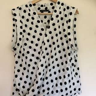 Portmans Spotted Wrap Style Top - Size 16