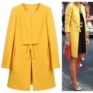 Yellow Coat With Bow Detail