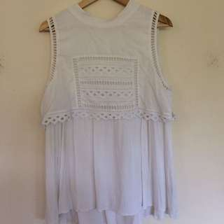 Seed Heritage White Cotton/Viscose Blend Top - Size 14.