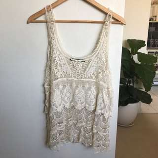 Cream Zara Top Size M Fits Small Nicely