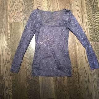 Beautiful Purple Lace Long Sleeve - Tight Fitting
