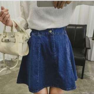 深藍彈性牛仔傘裙