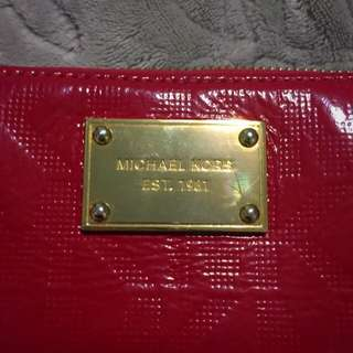 Ruby Red Michael Kors Leather Wristlet