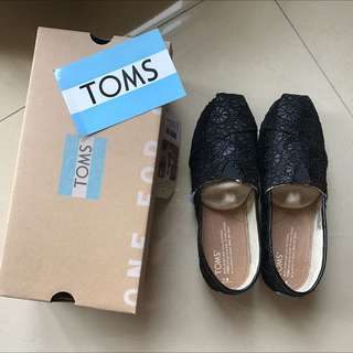 Toms Classic Black Glitter Slip On