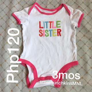 Preloved Carter's Onesie 3 Months Baby Girl Clothes Little Sister