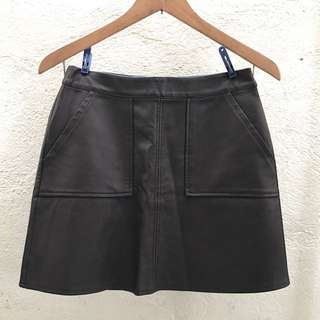 BNWOT F21 Chocolate Faux Leather Skirt