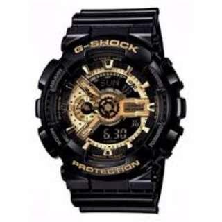 Casio G-Shock Men's Black/Gold Dial Resin Strap Watch - GA-110GB-1
