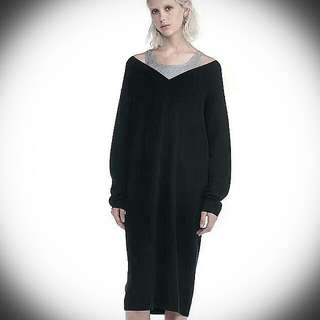 【Authentic】Alexander Wang KNIT PULLOVER DRESS WITH INNER COTTON TANK (Black & Grey)
