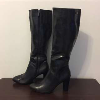 全新Centro 黑色高跟皮靴 (size: 40)
