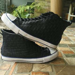 Converse Chuck Taylor All Star HI 150445C Black Cobalt Woven leather QS shoes