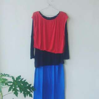 Dress Muslimah Layer Red-Blue