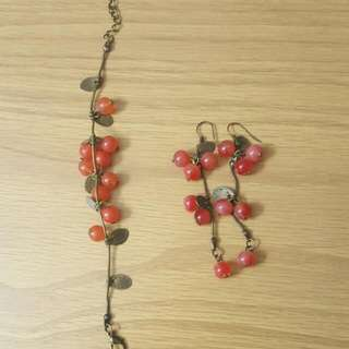 🍒CHERRIES EARRINGS+BRACELET SET