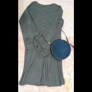 Midi Dress Grey Long Sleeve
