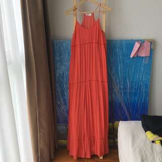 H&M Coral Maxi Dress US 4