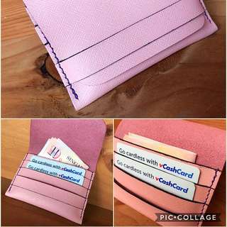 Hand Made Pink Safiano Leather Card/money Holder.