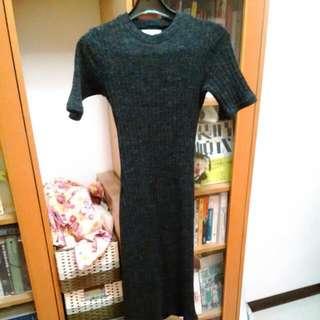 短袖針織長洋裝