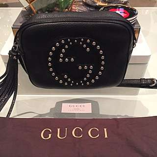 Gucci Soho Collection Disco Crossbody Bag In Black Leather With Silver Studs