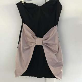 ASOS Black And Pink Bow Sweetheart Neckline Dress SizeM