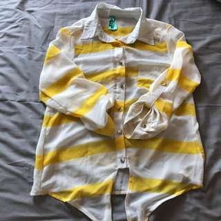 Yellow Striped Long Sleeve Top
