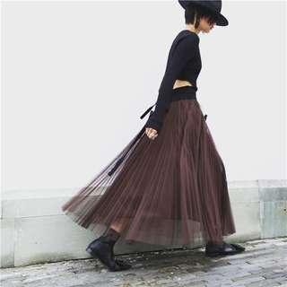 『直筒百折版型雙層大裙擺女神紗裙。黑 灰 咖啡3色』