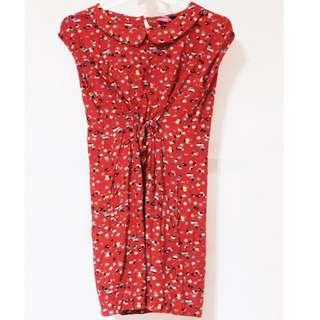 Sophie Martin Red Tie-front Dress